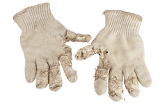 Worn out knit cotton work gloves. Stock Image