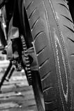 Worn out motorcycle tyre. Extremely worn out motorcycle tyre Royalty Free Stock Images
