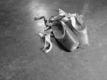 Worn Out Pointe Shoes. Old and worn out pointe shoes for ballet Stock Images