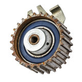 Worn out pulley of timing belt royalty free stock image