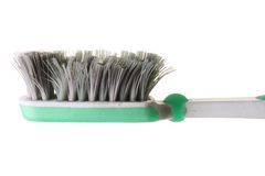 Worn Out Toothbrush. On White Background Stock Photos