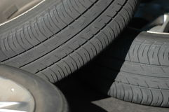Worn out tyre. Of a car Stock Photo