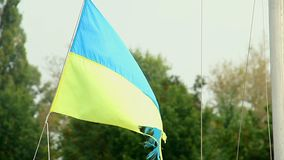 Worn-out Ukrainian flag waving in the wind, symbol of freedom. Stock footage stock video