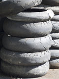 Worn out used tires Stock Photos