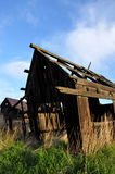 Worn out and weathered. Old homestead buildings with weathered wood Stock Photo