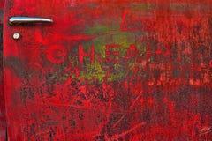 Worn red car door Royalty Free Stock Photos