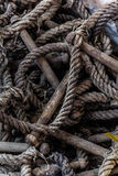 Worn rope ladder. Close up shot of an old and worn rope ladder Royalty Free Stock Photos
