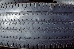 Worn rubber tire tread Stock Photos