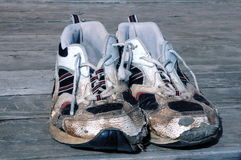 Worn running shoes Stock Photos