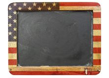 Worn school blackboard,stars and stripes stock photo