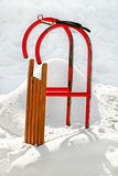 Worn sled in snow. In contra light Stock Photography