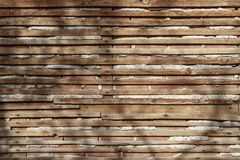 Worn and spaced wooden slats. In the outside royalty free stock photos