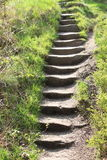 Worn stone steps. A set of worn natural stone steps winding up a public steep footpath Stock Photos