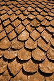 Worn tiles. On a traditional roof Stock Photo
