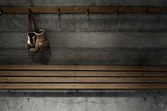 Worn Vintage Boxing Gloves Hanging In Change Room Royalty Free Stock Photo