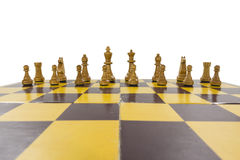 Worn Vintage Chess Set Isolated Royalty Free Stock Image