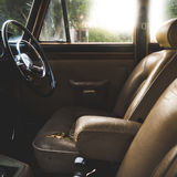 Worn Vintage Leather Auto Interior Stock Images