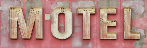 Worn Vintage Red Motel Sign Stock Photos