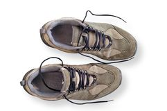 Worn walking shoes isolated Royalty Free Stock Photos