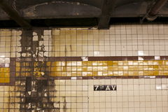 Worn Walls of the Subway System Stock Images