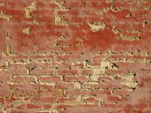 Worn Red Concrete Mortar Wall with Tiles Background Stock Photos