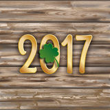 Worn Wooden Background Planks 2017 Shamrock Stock Images