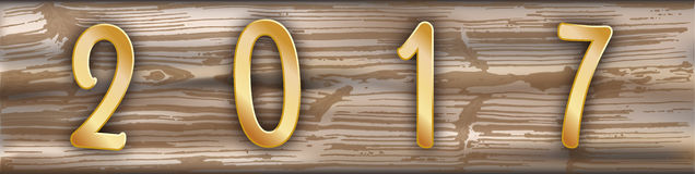 Worn Wooden Plank Golden 2017 Header Royalty Free Stock Photography