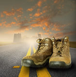 Worn work boots royalty free stock photography