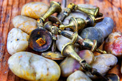 Wornout Rusty Brass Cupboard Handles or Doorknobs Royalty Free Stock Photos