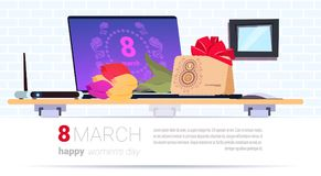 Worplace With Gift Box And 8 March Envelope Happy Women Day Creative Presents Over Template Background. Flat Vector Illustration royalty free illustration