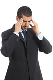 Worried arab businessman with head ache Stock Photos