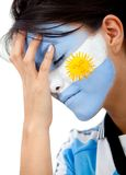 Worried argentinean football fan Stock Photos
