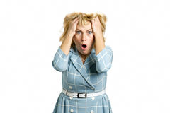Worried beautiful middle aged woman. royalty free stock images