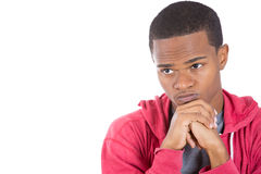A worried black guy deeply thinking Royalty Free Stock Photo
