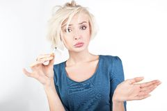 Worried blond lady Royalty Free Stock Photos
