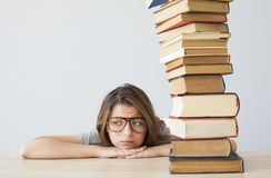 Worried and bored student stock photos