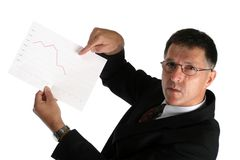 Worried boss showing bad results to his workers Stock Photography