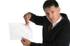 Worried boss showing bad results to his workers Stock Image