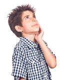 Worried boy looking up Stock Image