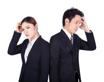 Worried business man and woman isolated on white Royalty Free Stock Photography
