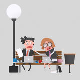 Worried business people working on a park bench.3D. NnCustom 3d illustration, contact me Stock Image