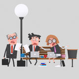 Worried business teamwork working on a park bench. 3D. 