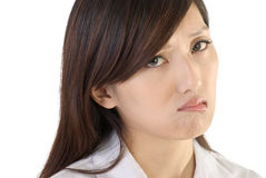 Worried business woman. Face and expression, closeup portrait of office lady on white background Royalty Free Stock Photography