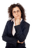Worried business woman. On white background Stock Images