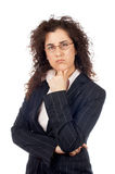 Worried business woman. On white background Stock Photos