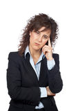 Worried business woman. Over a white background Stock Photography