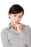 Worried business woman. Of young Asian lady, closeup portrait on white Stock Photo