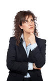 Worried business woman. Over a white background Stock Images