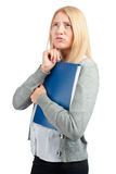 Worried business woman. With documants, over white background Stock Photos