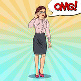 Worried Business Woman in Eyeglasses. Pop Art illustration Royalty Free Stock Image